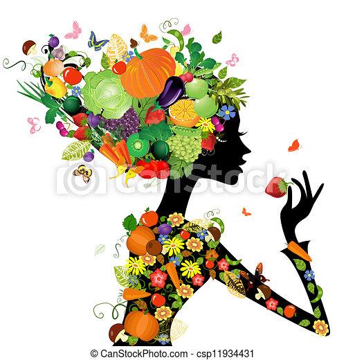 moda, capelli, disegno, frutte, ragazza, tuo - csp11934431