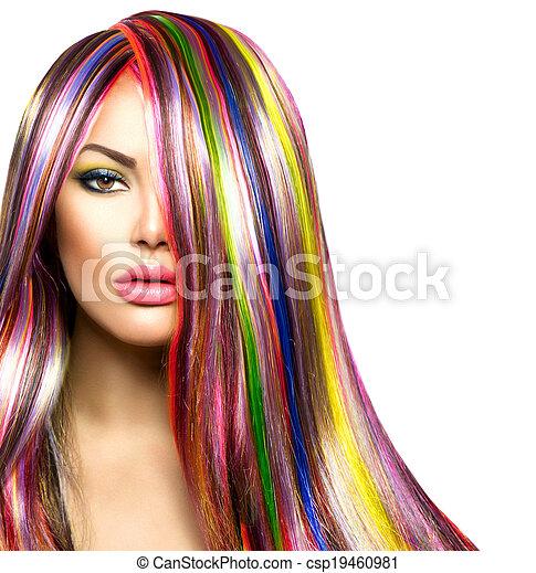 moda, colorido, belleza, makeup., pelo, modelo, niña - csp19460981
