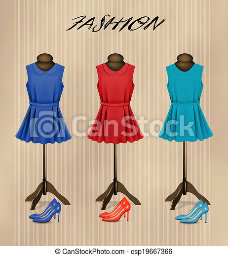 Antecedentes de boutique de moda retro con vestidos de colores y zapatos. Vector - csp19667366