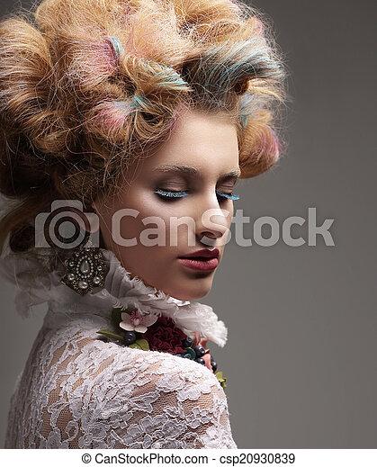 moda, coloridos, cabelo tingido, modelo, inspiration. - csp20930839
