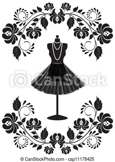 moda, cornice, collana, indossatrice, floreale, gonna, scheda - csp11178425