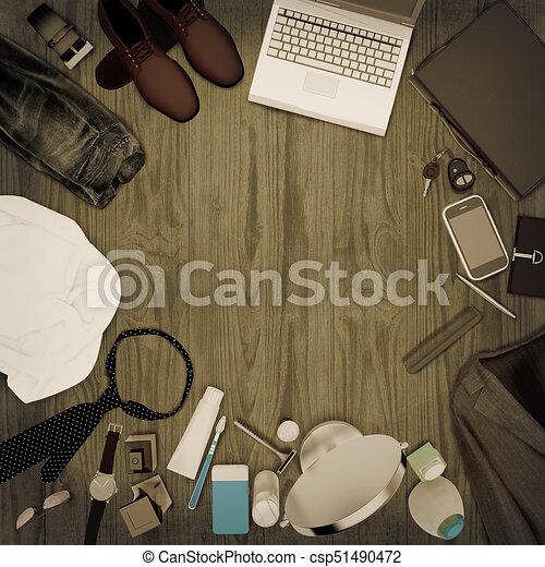 5ba184f75 moda, de madera, caballero, hombres, -, aislado, accesorios, fondo., kit,  ropa