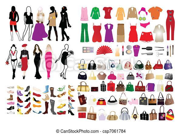moda, elementi, donne - csp7061784
