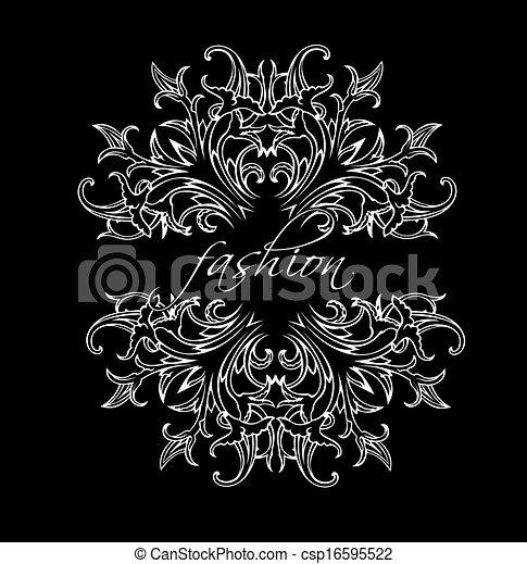 moda, folhas, pretas, ornate, quad, branca - csp16595522