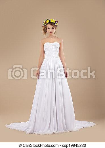 moda, ghirlanda, sposa, espousal., modello, fiori, vestire, bianco - csp19945220