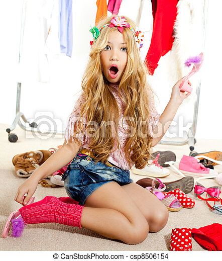 moda, guardarropa, bastidores, víctima, desordenado, niña, niño - csp8506154