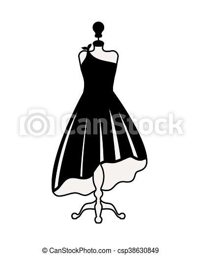 c17d7d9b7093a Moda, isolado, desenho, femininas, vestido, ícone. Gráfico, vestido ...