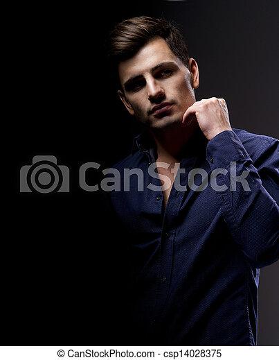 moda, jovem, elegante, estúdio, portrait., man., bonito - csp14028375