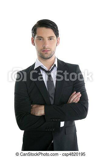 La moda elegante y elegante joven traje negro - csp4820195