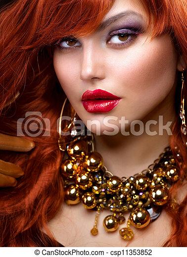 moda, joyas, haired, portrait., niña, rojo - csp11353852