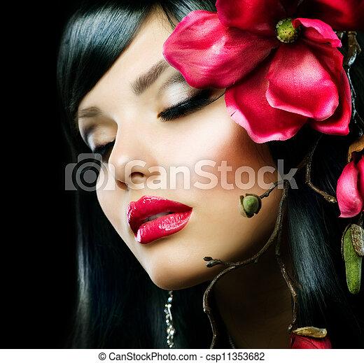 moda, magnólia, isolado, morena, pretas, menina flor - csp11353682