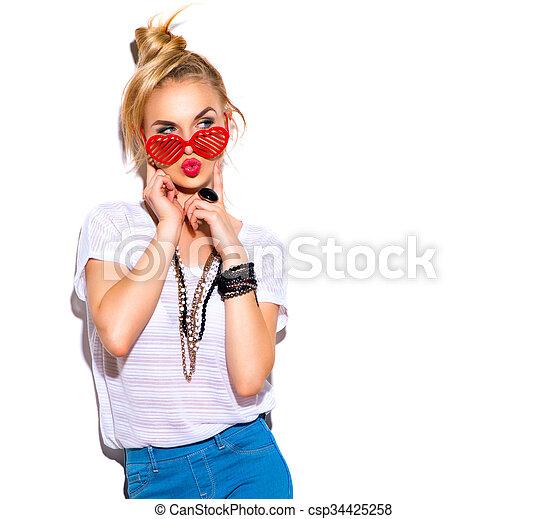 moda, menina, sobre, isolado, fundo, modelo, branca - csp34425258