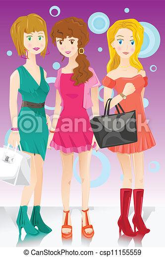 Tres chicas de moda - csp11155559