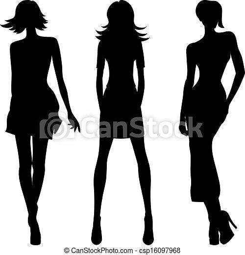 Vector silueta de chicas de moda de las mejores modelos - csp16097968