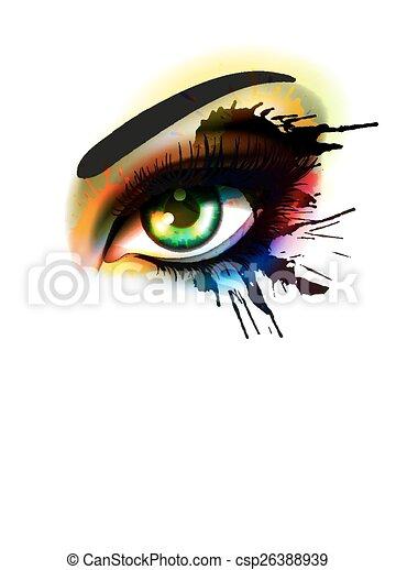 moda, occhio, bellezza, colorito, truccare, concetto, grunge - csp26388939
