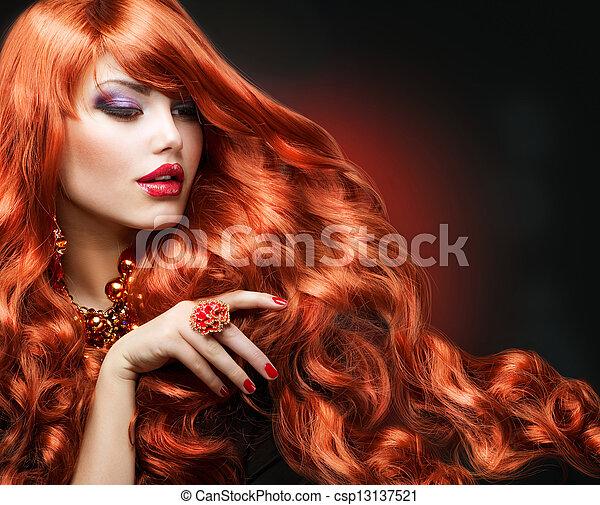 moda, ondulado, hair., retrato, niña, rojo - csp13137521