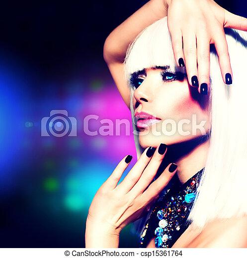 moda, púrpura, maquillaje, disco, pelo, portrait., chica partido, blanco - csp15361764