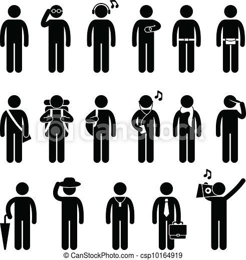 moda, pessoas, desenho, desgaste, macho, homem - csp10164919