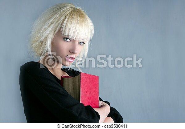 moda, presa a terra, libro, studente, biondo, rosso - csp3530411