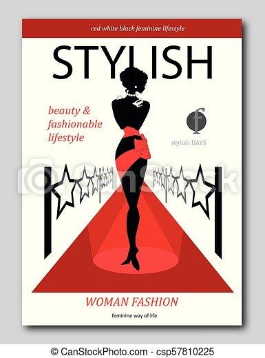 Mujer abstracta en una alfombra roja con estrellas. Diseño de portada de una revista de lujo - csp57810225