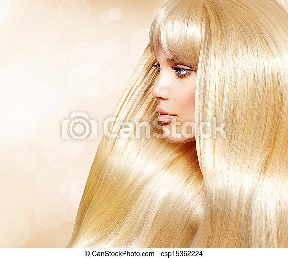 moda, sano, liscio, capelli lunghi, biondo, hair., ragazza - csp15362224