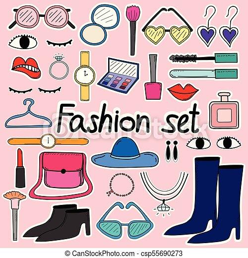 moda, scarabocchiare, set., mano, vettore, disegnato, linea - csp55690273