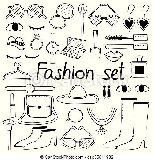 moda, scarabocchiare, set., mano, vettore, disegnato, linea - csp55611932