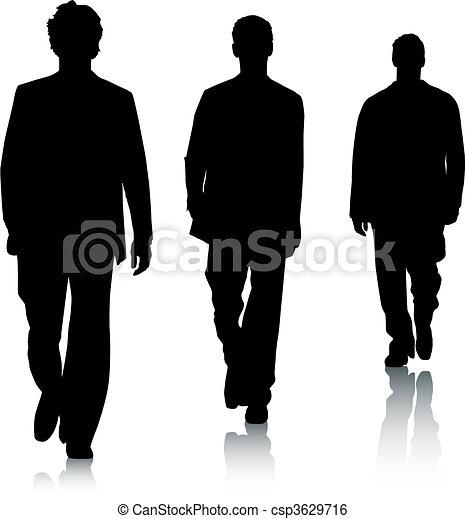 moda, silhouette, uomini - csp3629716
