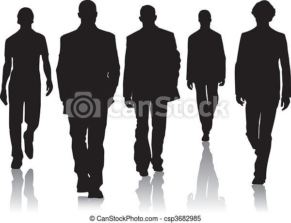 moda, silhouette, uomini - csp3682985