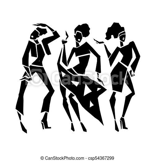Chicas de moda silueta. - csp54367299