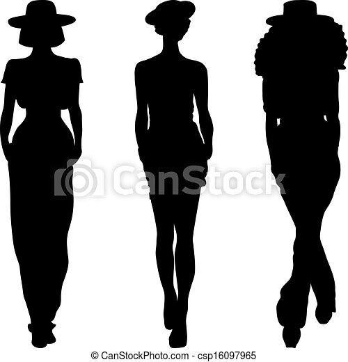 Vector silueta de chicas de moda de las mejores modelos - csp16097965