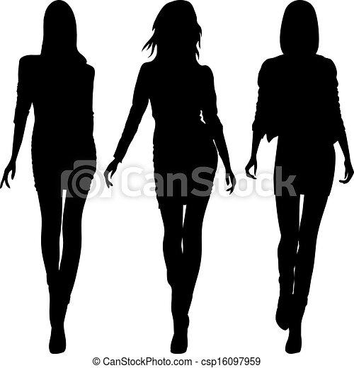 Vector silueta de chicas de moda de las mejores modelos - csp16097959