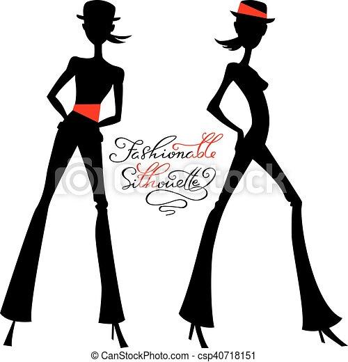Vector silueta de chicas de moda de las mejores modelos - csp40718151