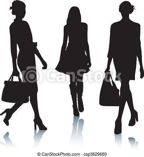 moda, silueta, mulheres - csp3629689