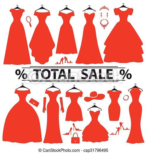 La Fiesta Roja Viste Silueta De La Venta De Moda Vestidos