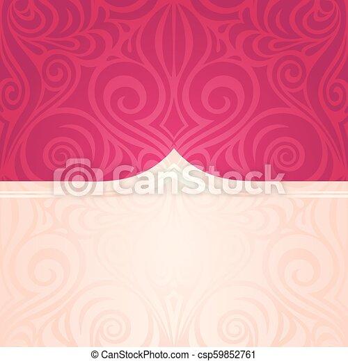 moda, spazio, modello, carta da parati, mandala, floreale, vettore, disegno, fondo, matrimonio, trendy, copia, rosso - csp59852761