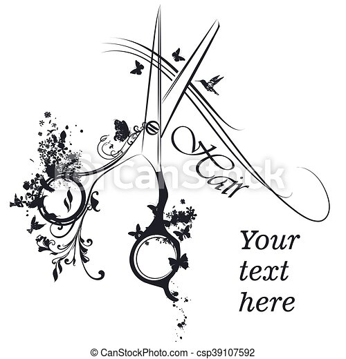 moda, stilista, parrucchiere, manifesto, logotype, capelli, disegno, butterflies.eps, forbici, o - csp39107592