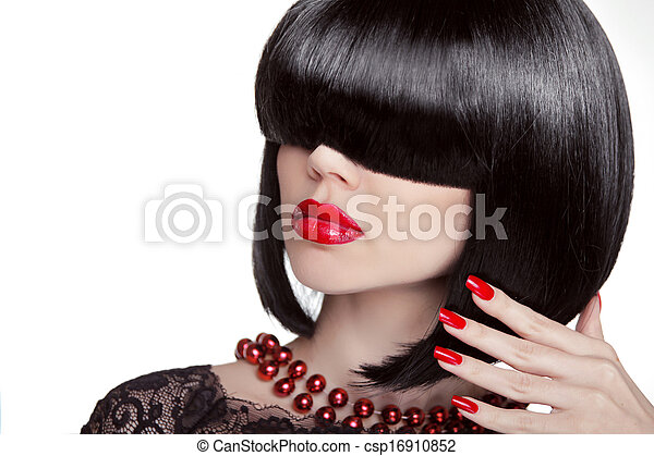 mode, cheveux, brunette, portrait, polonais, isolé, arrière-plan., chaud, noir, blanc, projection, rouges, femme, hairstyle., clous, maquillage, charme, sexy, lips., girl., manucuré, professionnel, modèle - csp16910852