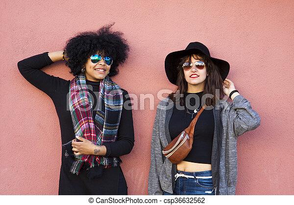 mode, filles, rue - csp36632562
