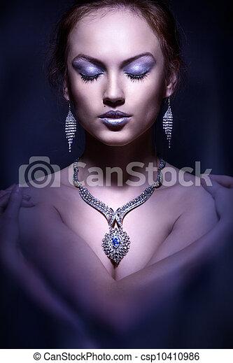 mode, fotografi, herskabelig, woman., portræt, studio - csp10410986