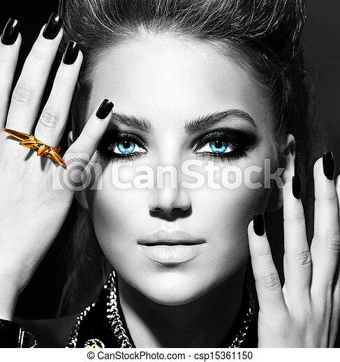 mode, girl., noir, portrait, blanc - csp15361150