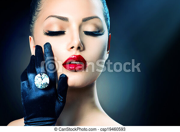 mode, skönhet, över, glamour, svart, stående, flicka - csp19460593