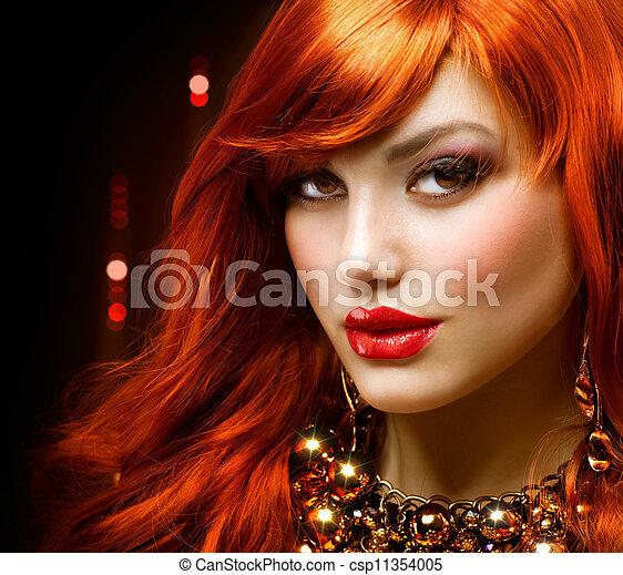 mode, smycken, haired, portrait., flicka, röd - csp11354005