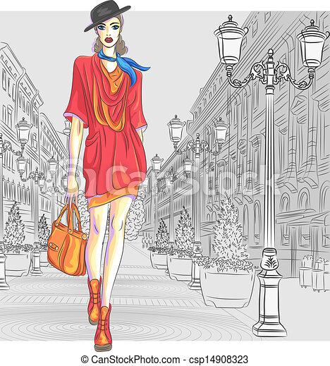 mode, straat., vector, aantrekkelijk, gaat, meisje, petersburg - csp14908323