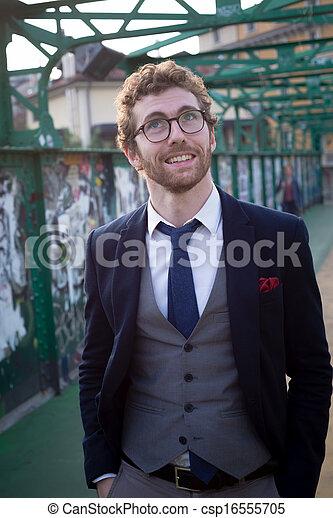 mode, style de vie, élégant, hipster, séduisant, homme - csp16555705