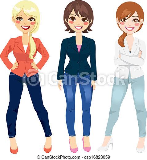 mode, tillfällig, kvinnor - csp16823059
