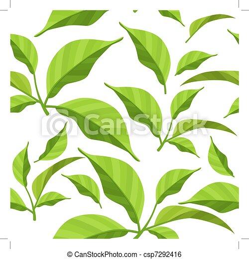 model, bladeren, seamless, groene, fris, witte  - csp7292416