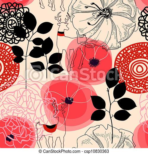 model, bloemen, seamless, deers - csp10830363