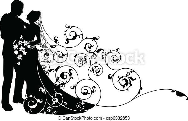 model, bruidegom, silhouette, achtergrond, bruid - csp6332853