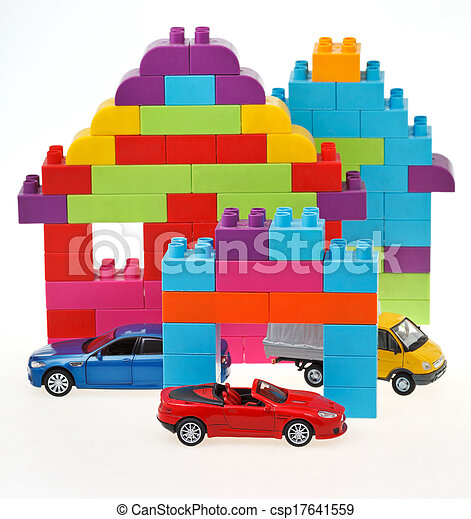 model car, plastic block house - csp17641559